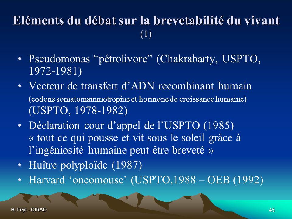 Eléments du débat sur la brevetabilité du vivant (1)