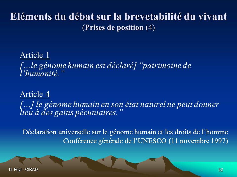 Eléments du débat sur la brevetabilité du vivant (Prises de position (4)