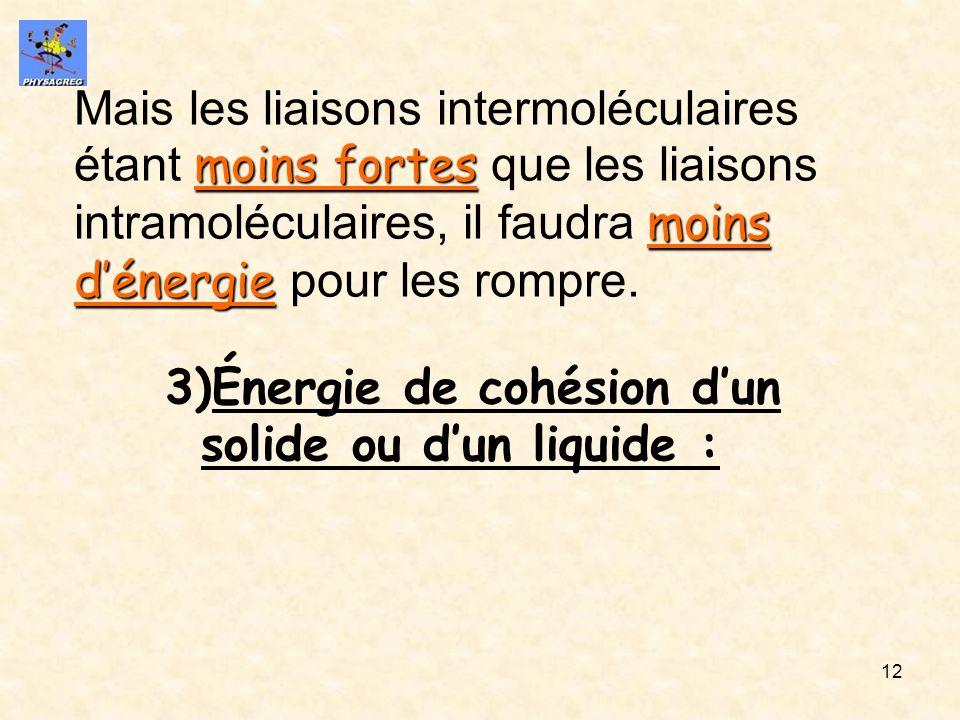 Mais les liaisons intermoléculaires étant moins fortes que les liaisons intramoléculaires, il faudra moins d'énergie pour les rompre.