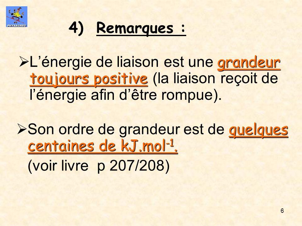 Remarques : L'énergie de liaison est une grandeur toujours positive (la liaison reçoit de l'énergie afin d'être rompue).