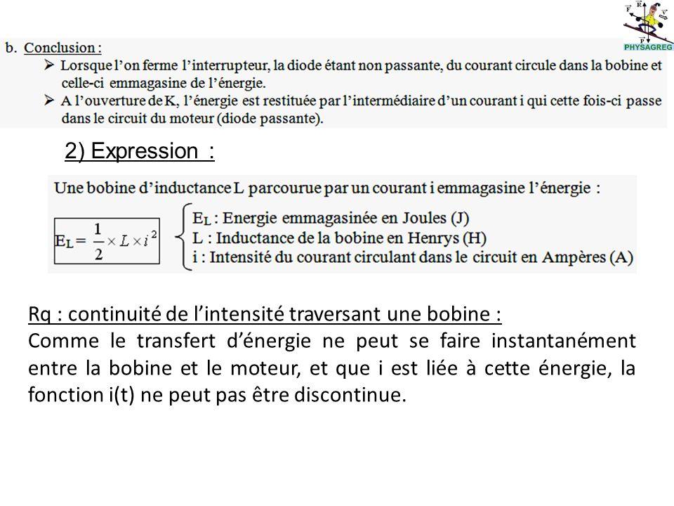2) Expression : Rq : continuité de l'intensité traversant une bobine :