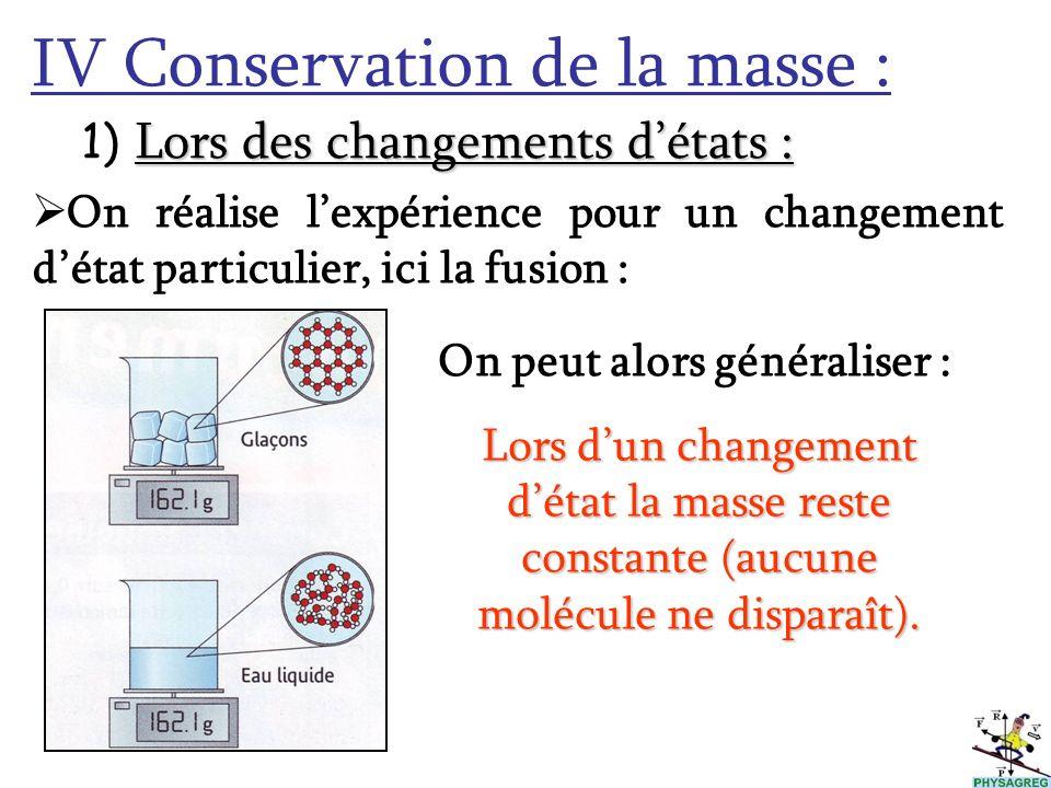 IV Conservation de la masse :