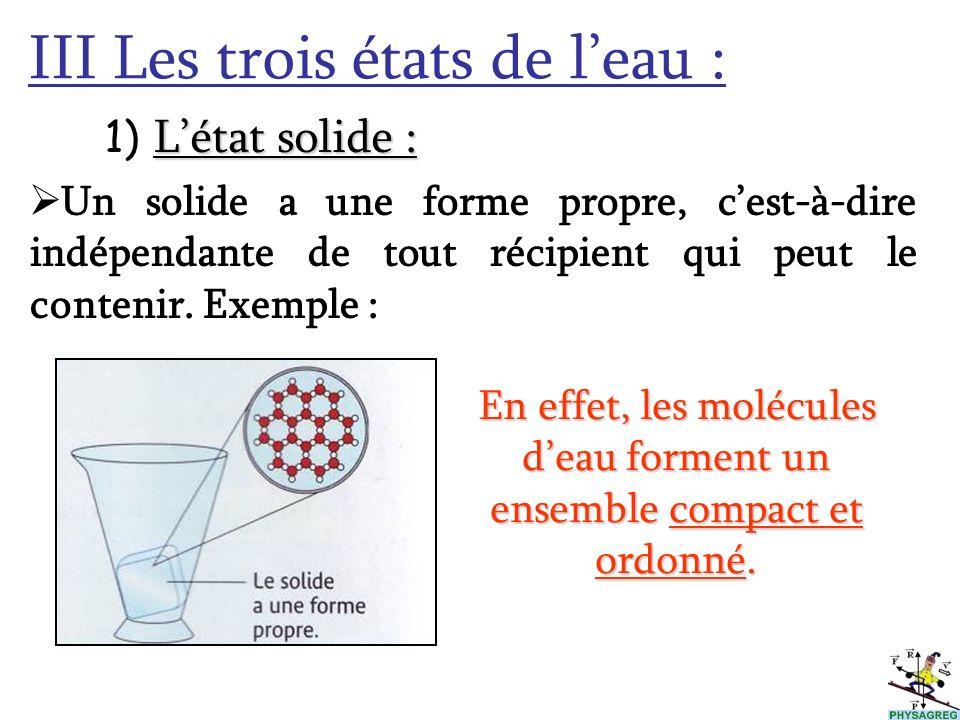 En effet, les molécules d'eau forment un ensemble compact et ordonné.