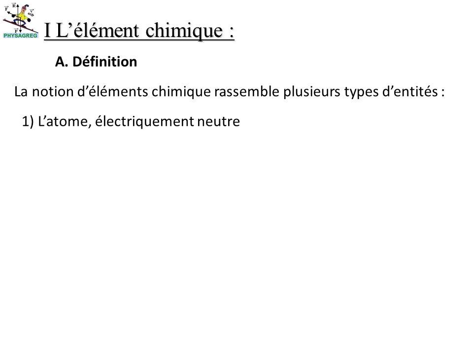 I L'élément chimique : A. Définition