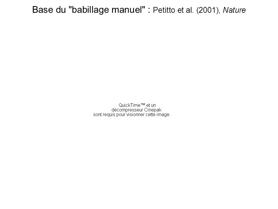 Base du babillage manuel : Petitto et al. (2001), Nature
