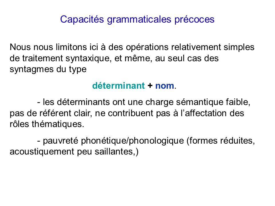 Capacités grammaticales précoces