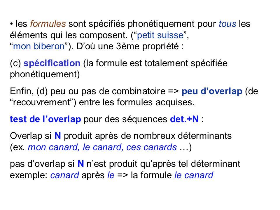 • les formules sont spécifiés phonétiquement pour tous les éléments qui les composent. ( petit suisse , mon biberon ). D'où une 3ème propriété :
