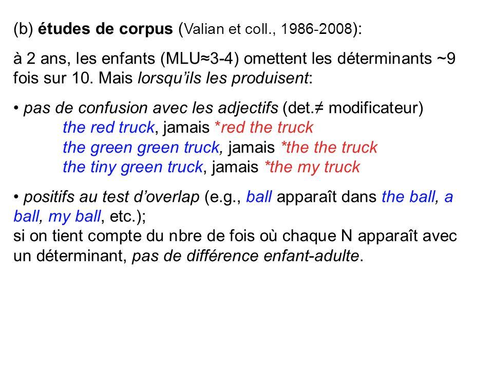 (b) études de corpus (Valian et coll., 1986-2008):