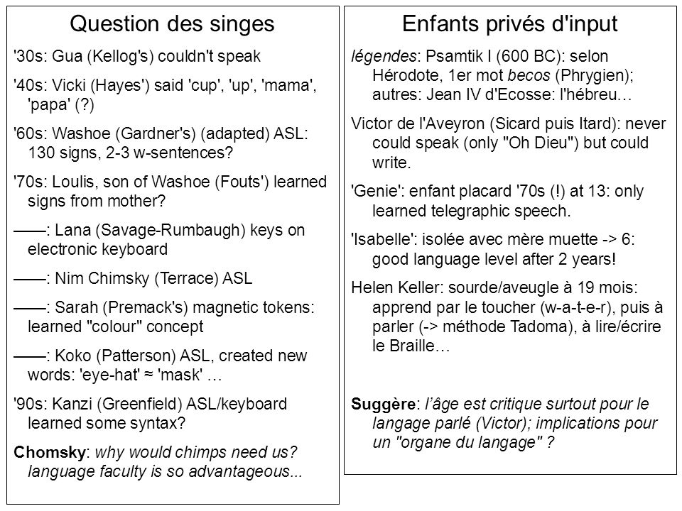 Question des singes Enfants privés d input