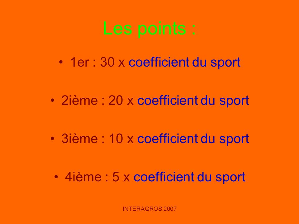 Les points : 1er : 30 x coefficient du sport