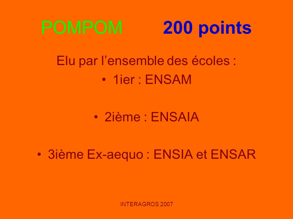 POMPOM 200 points Elu par l'ensemble des écoles : 1ier : ENSAM