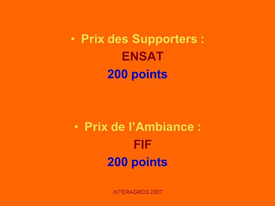 Prix des Supporters : ENSAT 200 points Prix de l'Ambiance : FIF