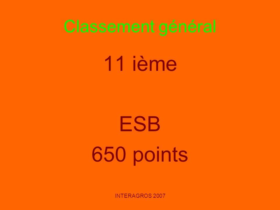 Classement général 11 ième ESB 650 points INTERAGROS 2007