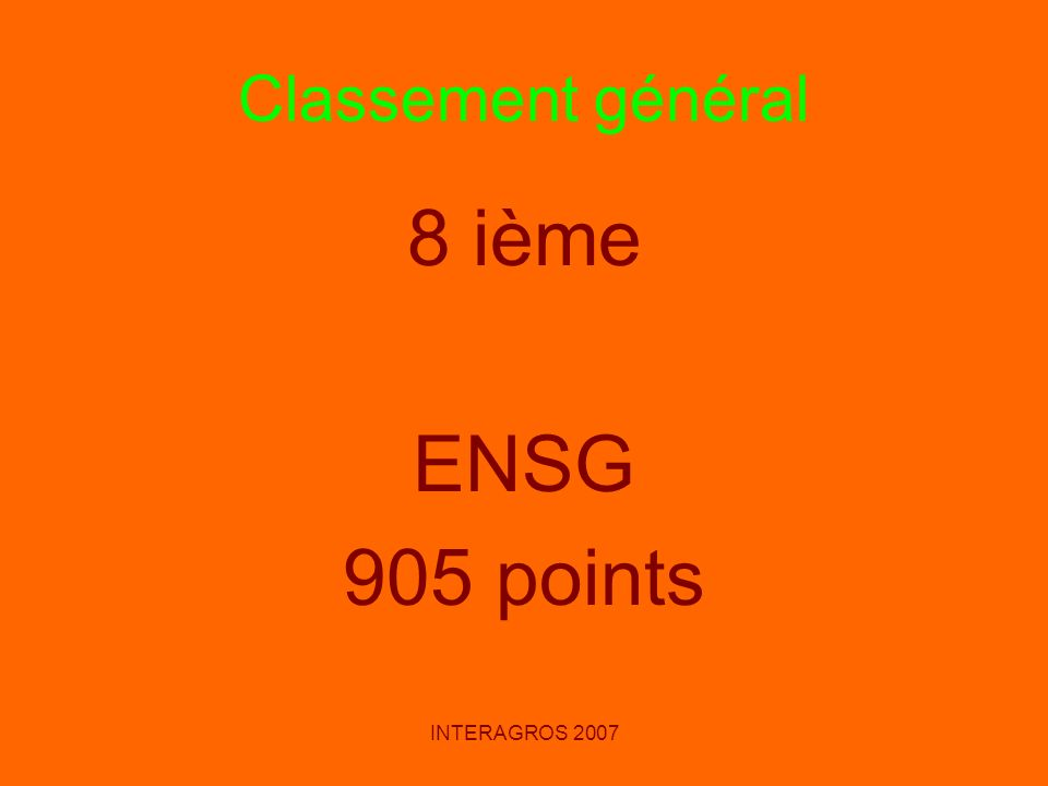 Classement général 8 ième ENSG 905 points INTERAGROS 2007