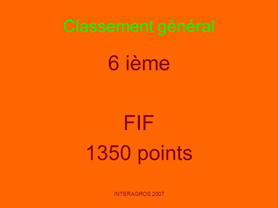 Classement général 6 ième FIF 1350 points INTERAGROS 2007