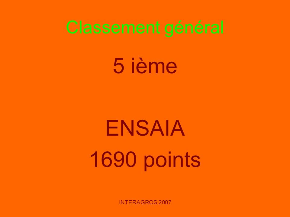 Classement général 5 ième ENSAIA 1690 points INTERAGROS 2007