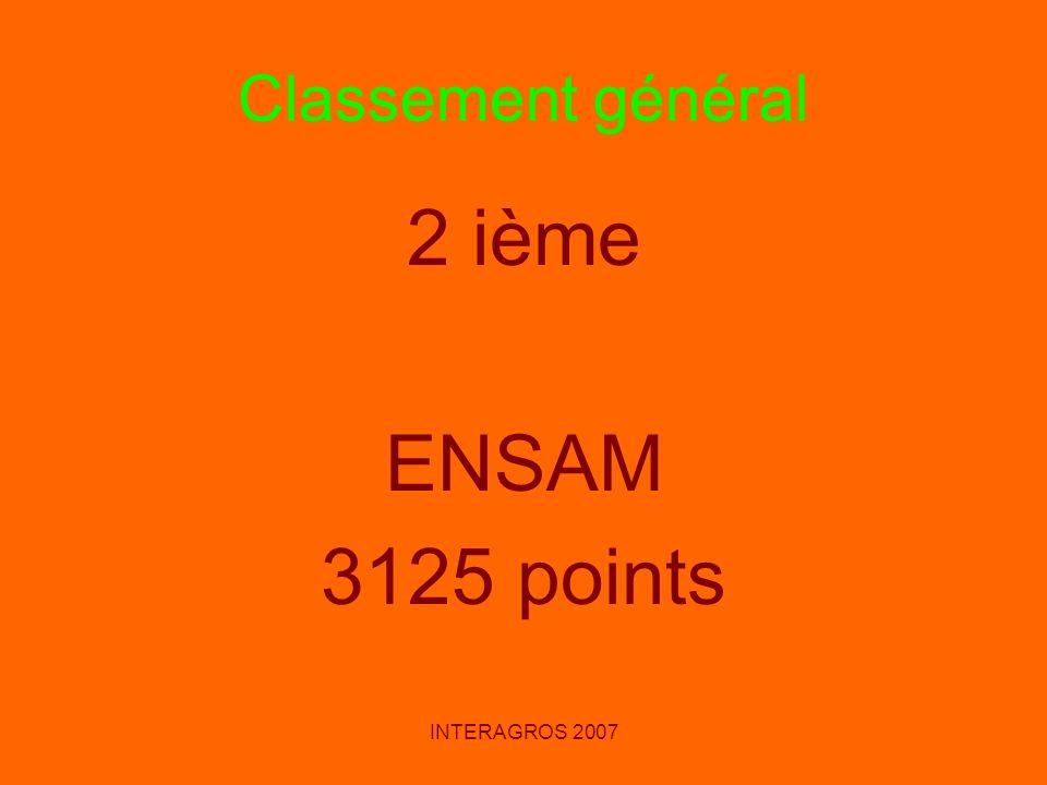 Classement général 2 ième ENSAM 3125 points INTERAGROS 2007