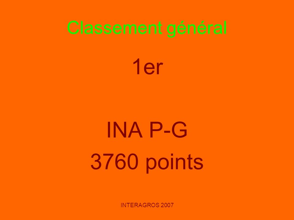Classement général 1er INA P-G 3760 points INTERAGROS 2007
