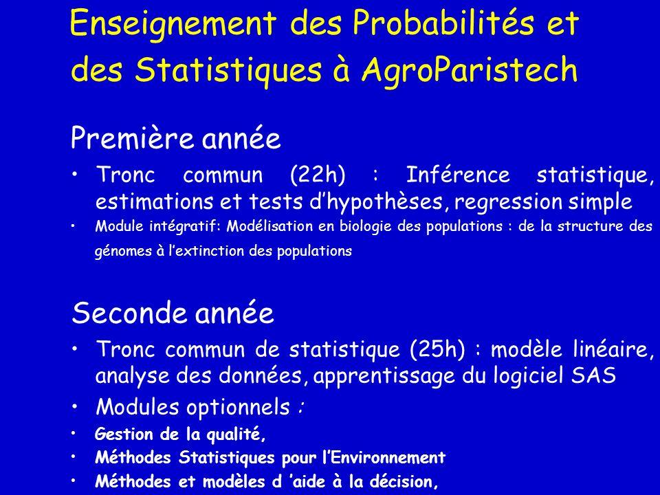 Enseignement des Probabilités et des Statistiques à AgroParistech