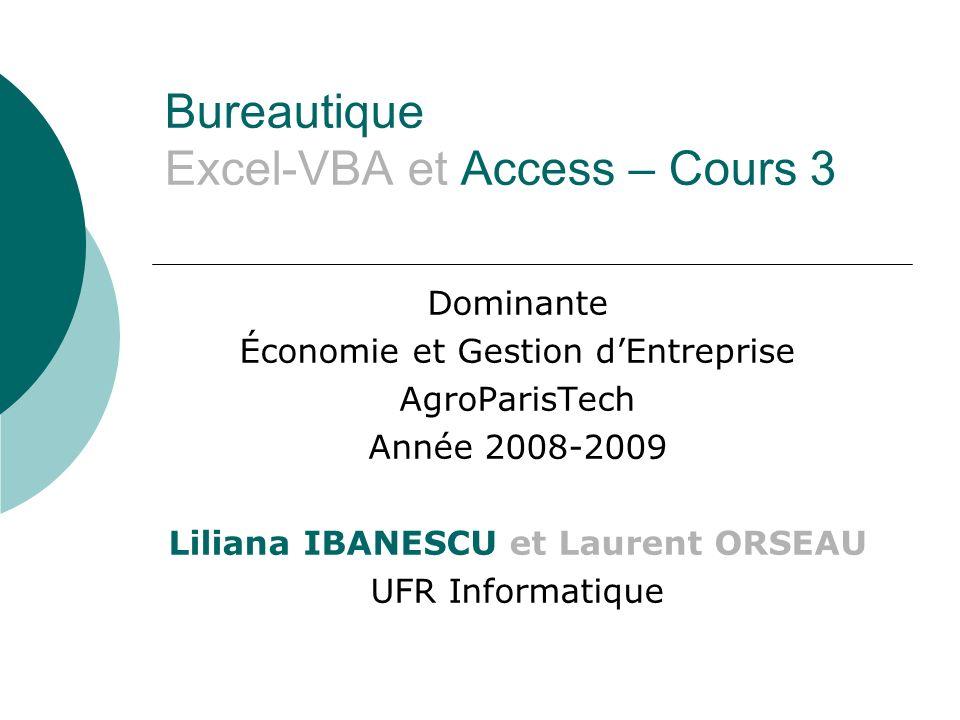 Bureautique Excel-VBA et Access – Cours 3