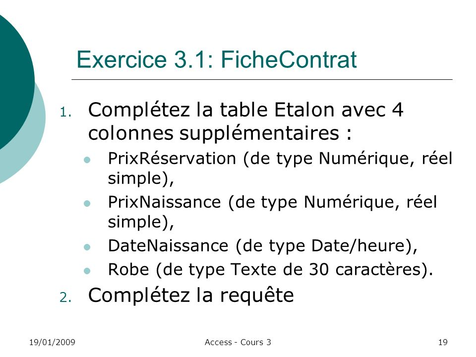 Exercice 3.1: FicheContrat