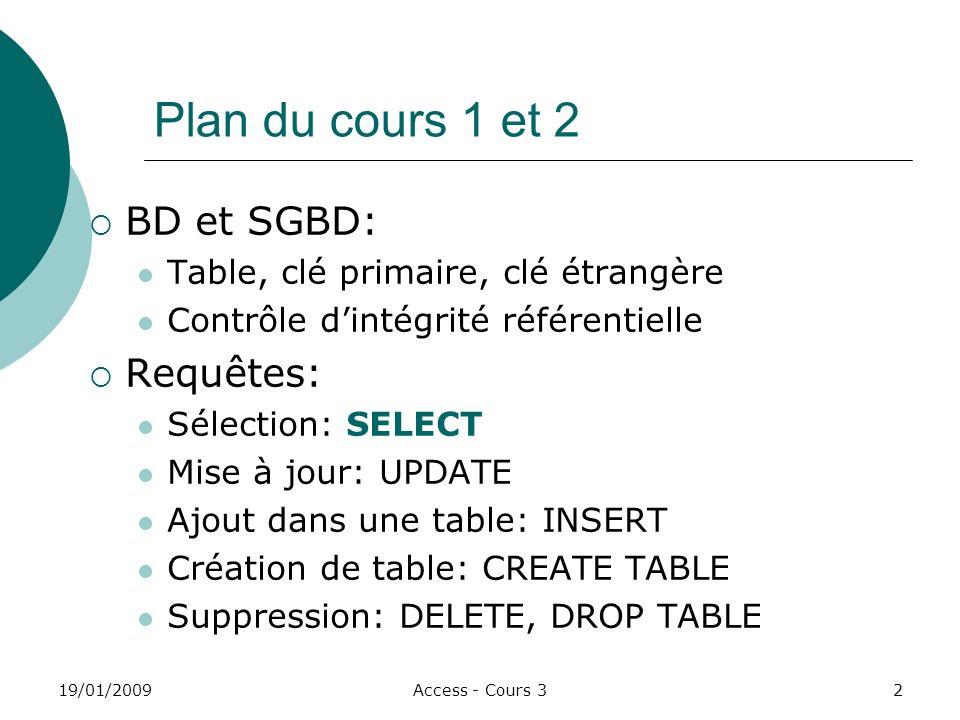 Plan du cours 1 et 2 BD et SGBD: Requêtes: