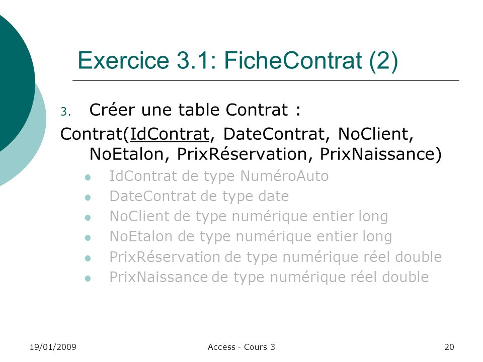 Exercice 3.1: FicheContrat (2)