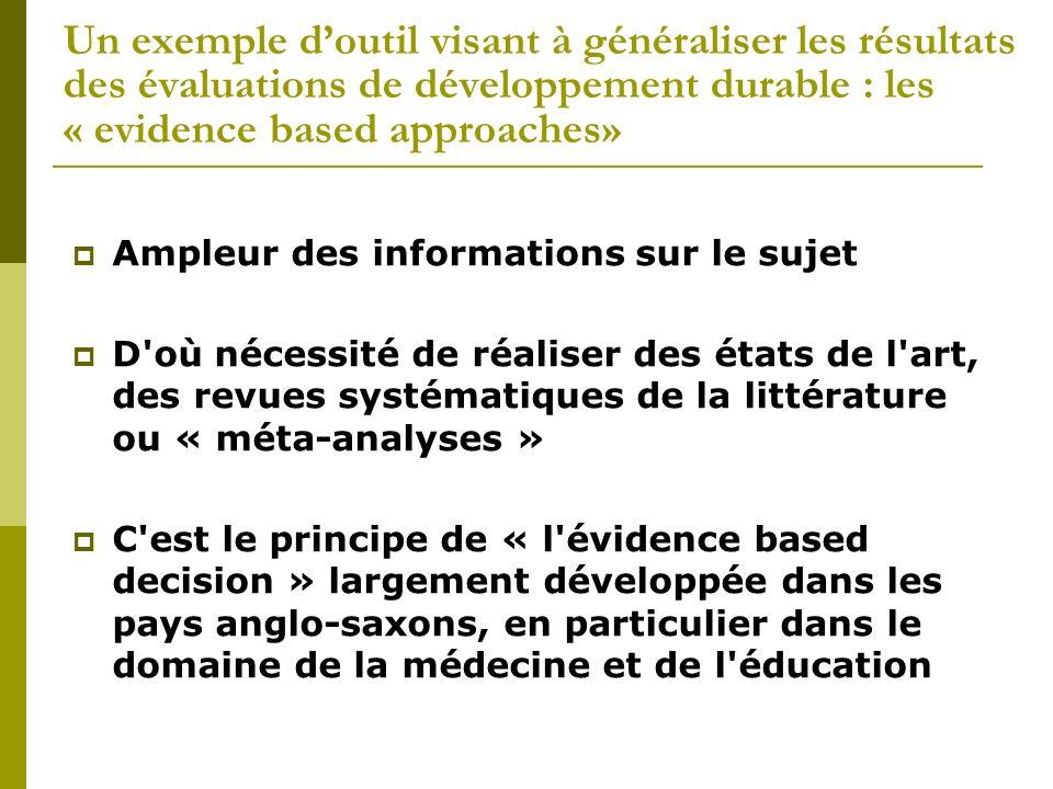 Un exemple d'outil visant à généraliser les résultats des évaluations de développement durable : les « evidence based approaches»