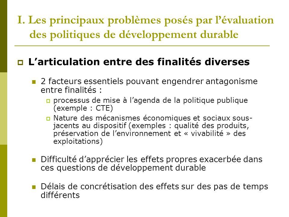 I. Les principaux problèmes posés par l'évaluation des politiques de développement durable