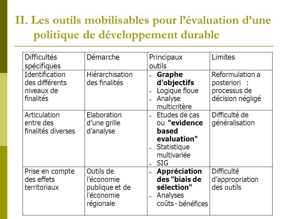 II. Les outils mobilisables pour l'évaluation d'une politique de développement durable