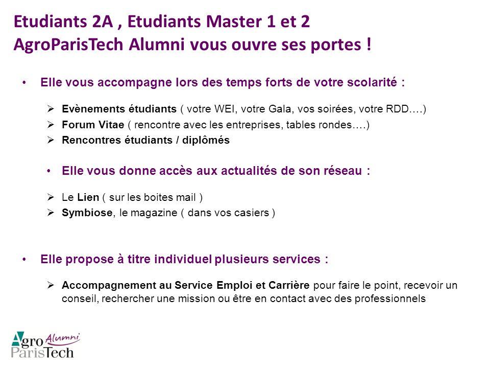 Etudiants 2A , Etudiants Master 1 et 2 AgroParisTech Alumni vous ouvre ses portes !