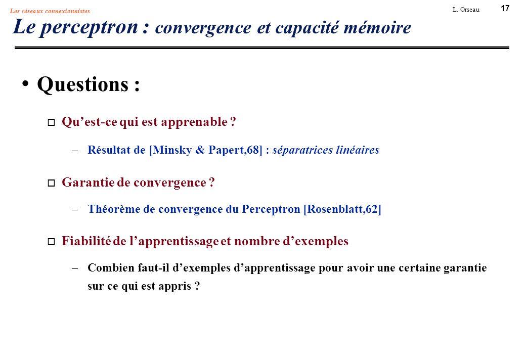 Le perceptron : convergence et capacité mémoire
