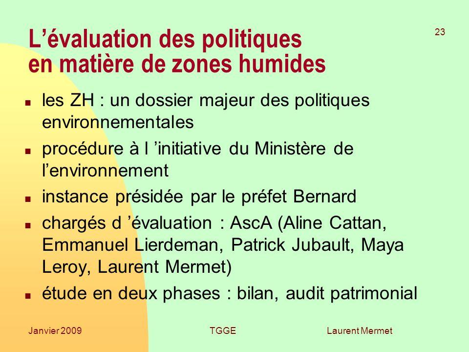 L'évaluation des politiques en matière de zones humides