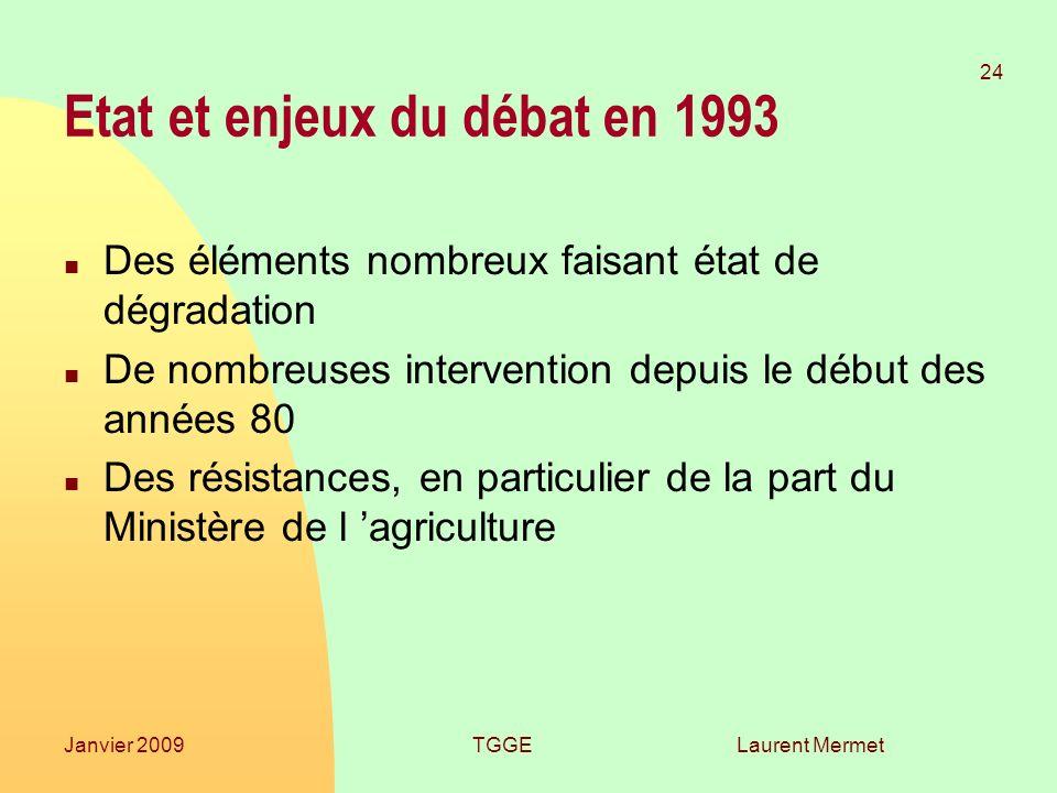 Etat et enjeux du débat en 1993