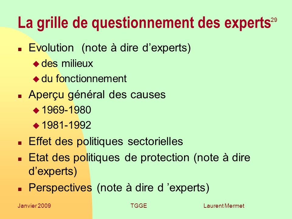 La grille de questionnement des experts