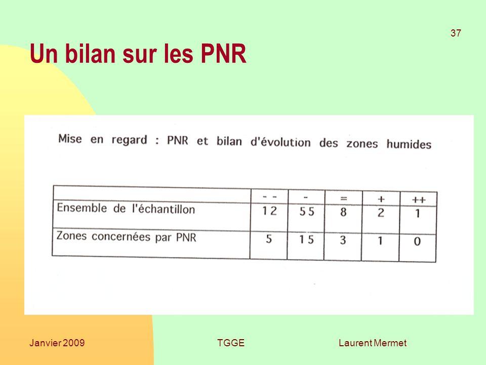 Un bilan sur les PNR Janvier 2009 TGGE