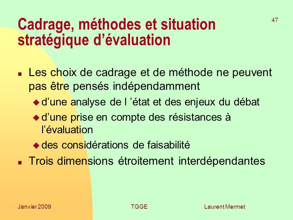 Cadrage, méthodes et situation stratégique d'évaluation