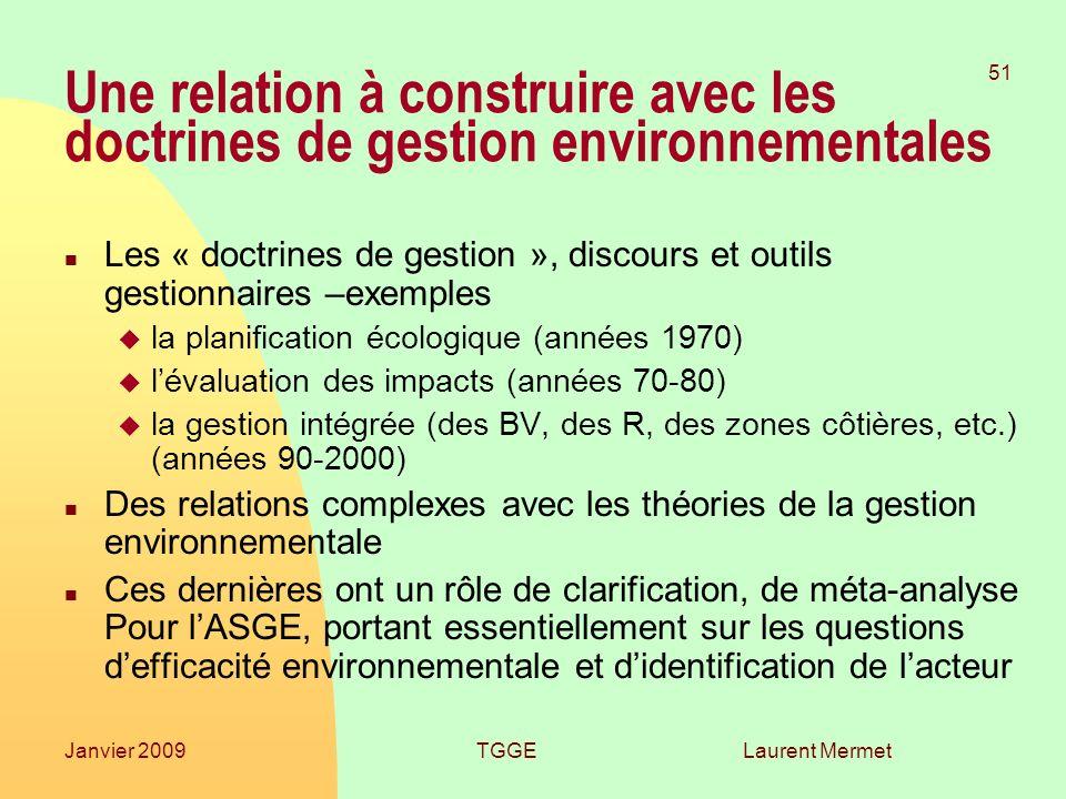 26/03/2017 Une relation à construire avec les doctrines de gestion environnementales.