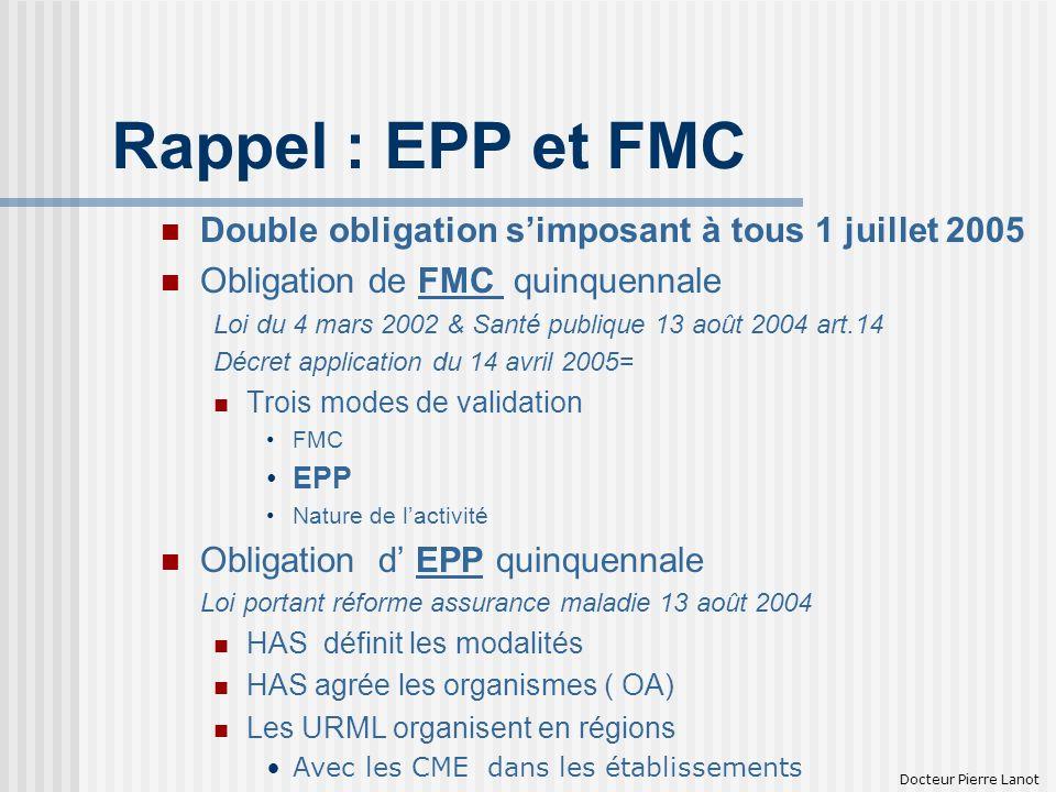 Rappel : EPP et FMC Double obligation s'imposant à tous 1 juillet 2005