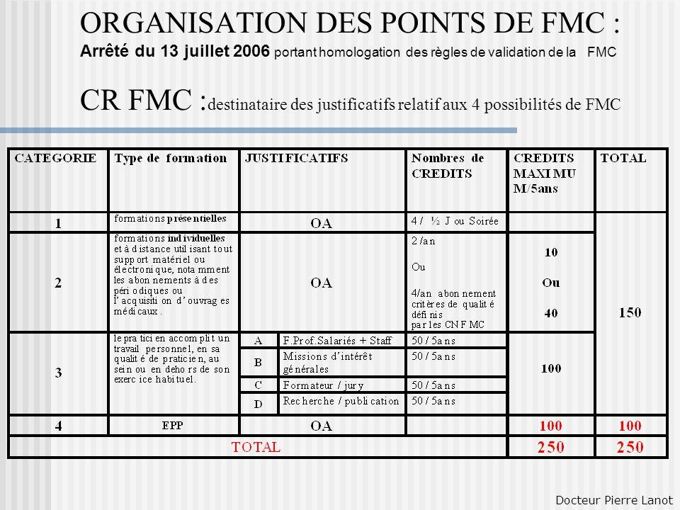ORGANISATION DES POINTS DE FMC : Arrêté du 13 juillet 2006 portant homologation des règles de validation de la FMC CR FMC :destinataire des justificatifs relatif aux 4 possibilités de FMC
