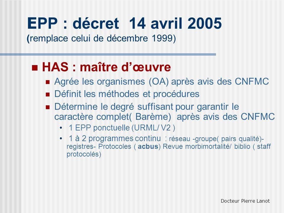 EPP : décret 14 avril 2005 (remplace celui de décembre 1999)