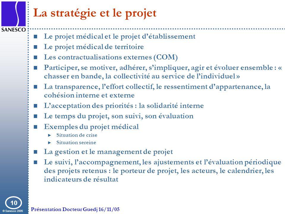 La stratégie et le projet