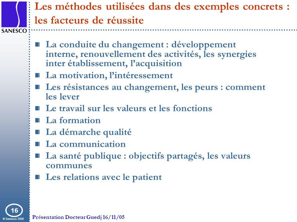 Les méthodes utilisées dans des exemples concrets : les facteurs de réussite