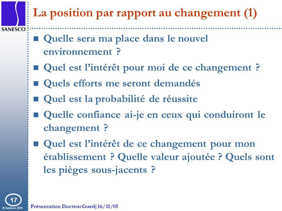 La position par rapport au changement (1)