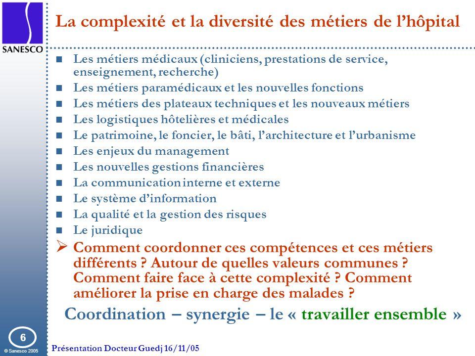 La complexité et la diversité des métiers de l'hôpital