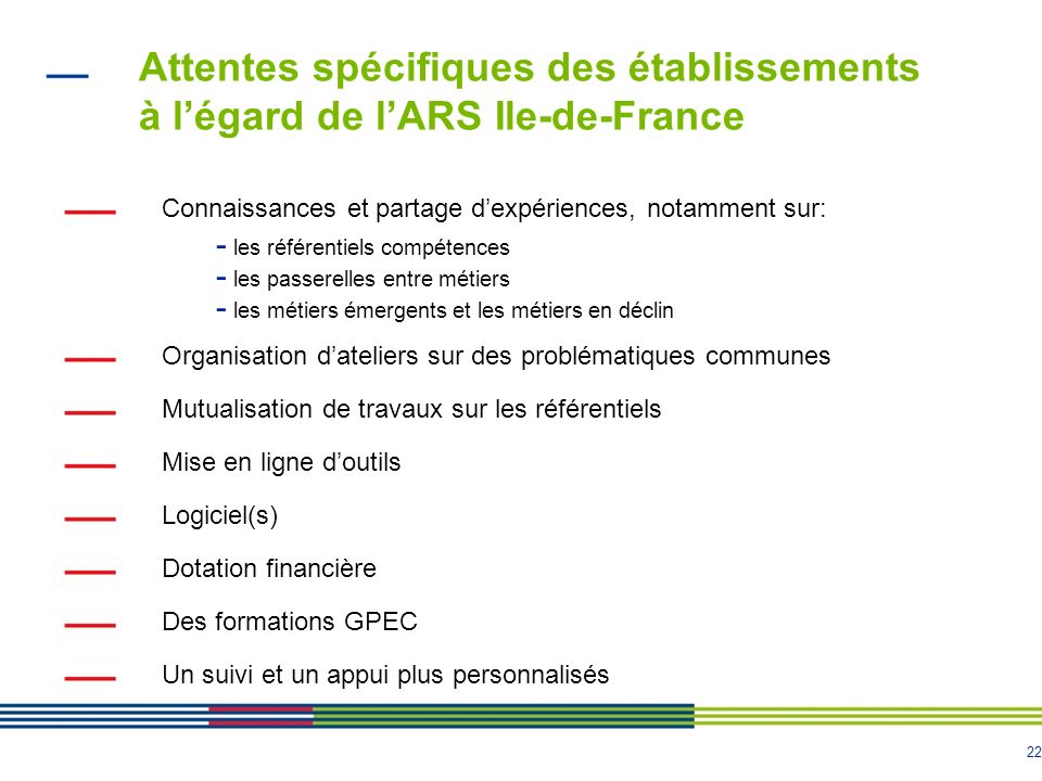 Attentes spécifiques des établissements à l'égard de l'ARS Ile-de-France