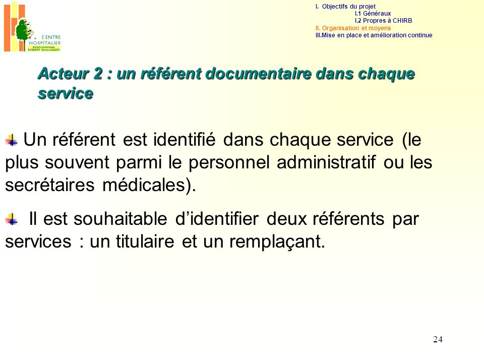 I. Objectifs du projet I.1 Généraux. I.2 Propres à CHIRB. II. Organisation et moyens. III.Mise en place et amélioration continue.