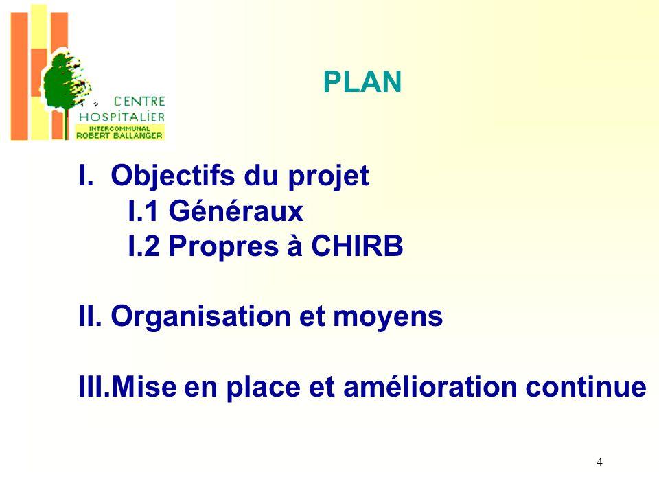 II. Organisation et moyens III.Mise en place et amélioration continue