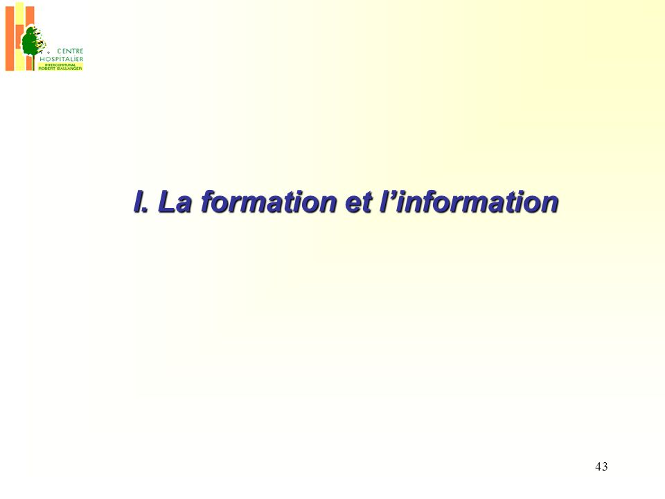 I. La formation et l'information