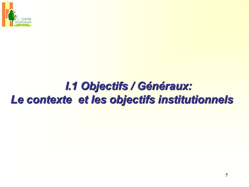 I.1 Objectifs / Généraux: